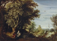 a wooded landscape with the rest on the flight to egypt by alexander keirincx