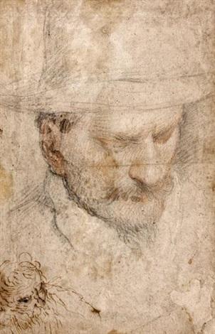 portrait d'hommeau chapeau, esquisse d'un homme barbu en bas à gauche by jacopo palma il giovane