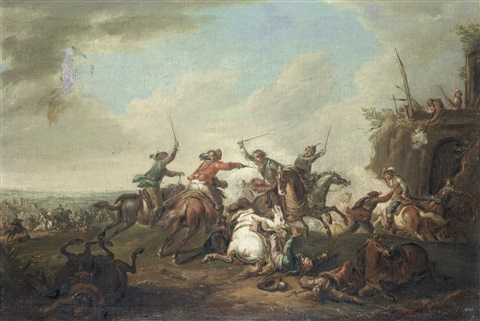 two cavalry skirmishes pair by august querfurt