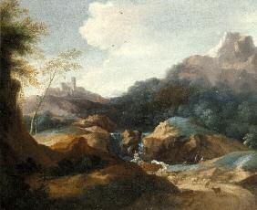 paesaggio con torrente pastori e fortezza sullo sfondo by gaspard dughet