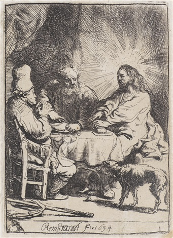 christ at emmaus: the smaller plate by rembrandt van rijn