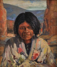 smiling navajo girl by carl von hassler