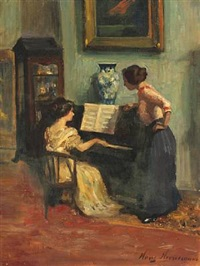 interior with two women by a piano by hans adolf hornemann