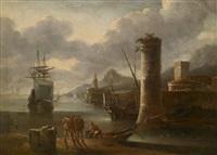 ein südlicher seehafen mit wachttürmen by adriaen van der cabel