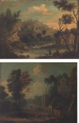 wooded river landscape with huntsmen by anglo flemish school 18