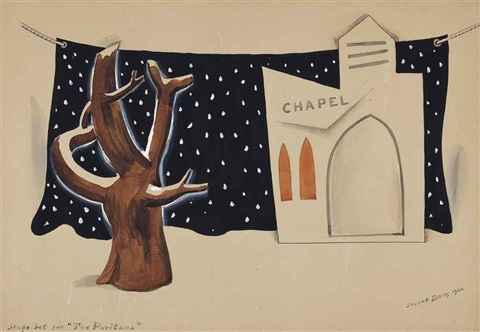 stage set for the puritans by stuart davis