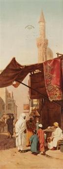négociations dans une rue au caire, chez le marchand d'étoffes by otto pilny