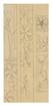 botanical sketches for three panels by émile gallé