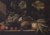 still life with grapes, plums, cherries and songbirds by cornelis de bryer