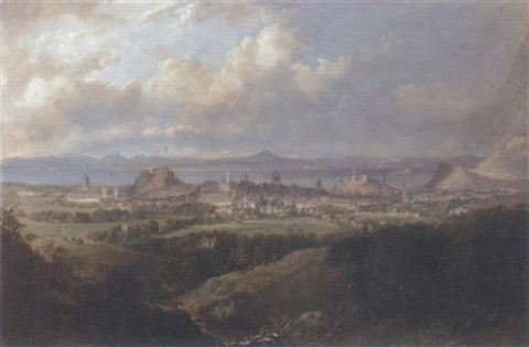 view of edinburgh from the braid hills by henry g duguid