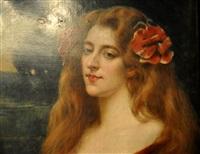portrait de jeune femme rousse by angelo asti