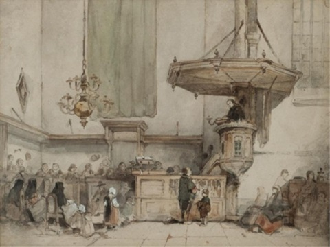 interior of the jacobskerk utrecht by johannes bosboom