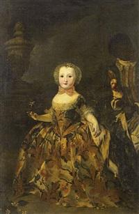 portrait d'une jeune princesse avec son serviteur noir tenant un carlin by sebastiano ceccarini