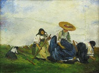 women working in the field by andrás mikola