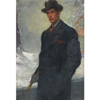 portrait of a man with his walking stick standing in the snow in overcoat and brimmed hat (possibly f. scott fitzgerald) by thomas webb