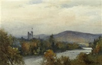 balmoral castle from the dee (+ untitled; pair) by thomas bunting