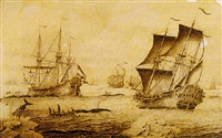 whaling ships in arctic waters by adriaen van salm