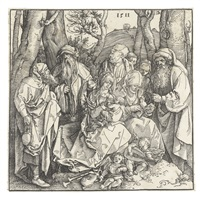 the holy kinship with lute-playing angels by albrecht dürer