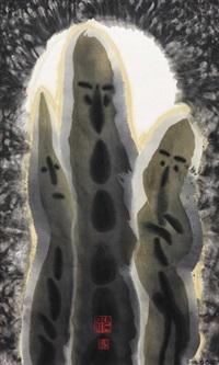 三人行(2002) 挂轴 设色纸本 by ha bik chuen