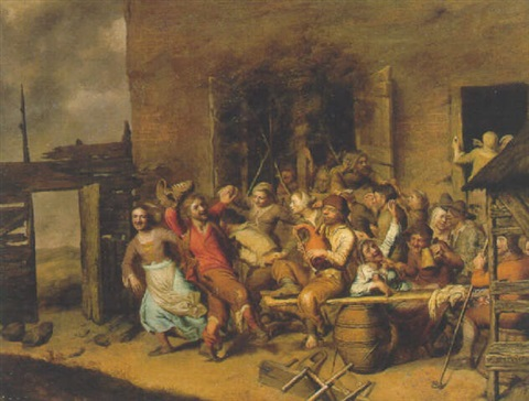 peasants merrymaking in a farmyard by matheus berckmans