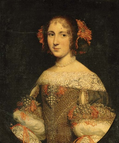 portrait of a young lady three quarter length in an embroidered and jeweled dress with pink ribbons in her hair by pier francesco cittadini