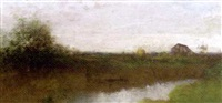 river landscape with a barn by william henry lippincott