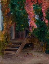 stary ganek w kwiatach by aleksander augustynowicz