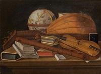 nature morte aux instruments de musique et à la mappemonde by evaristo baschenis