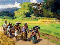 marktgangers o.java (going to the market, east-java) by gerard adolfs