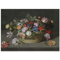 still life of flowers in a basket on a stone ledge, including roses, irises, fritallary, tulips, lily of the valley, columbine, french marigold, lily and briar-rose... by johannes bosschaert