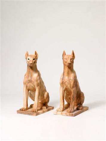 girl dogs, house of scher (malwine) (+ girl dogs, house of scher (magdala); 2 works) by julia scher