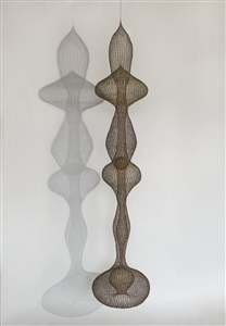 untitles s621 hanging six lobed multi layered interlocking forms with a sphere in the third lobe by ruth asawa