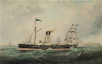 the paddle steamer george peabody by john white allen scott