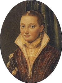 portrait of sofonisba anguissola wearing a red doublet over a cream shirt, with blue pearl-drop earrings by lucia anguissola