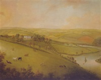 a view of sharpham house, devon by john lewis