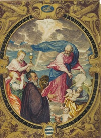 luca michiel, procurator of san marco, accompanied by saint mark and the three theological virtues, set in a fictive oval frame with the four cardinal virtues by alessandro merli