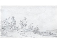 figures and riders on a road, in a dune landscape by jan josefsz van goyen
