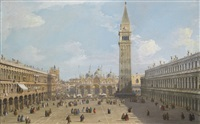 venice, the piazza san marco looking east towards the basilica by canaletto