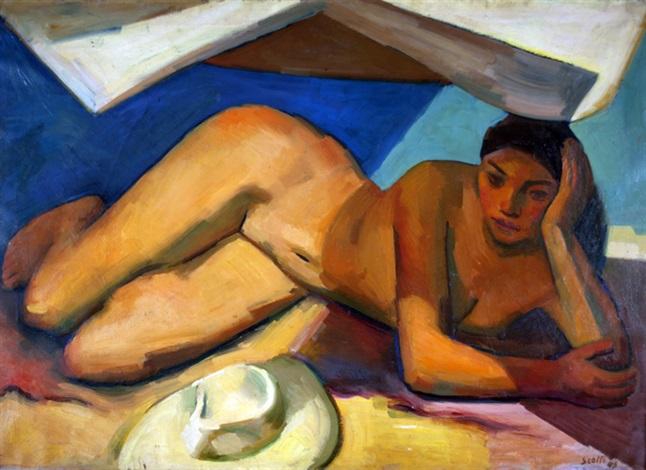 mujer con sombrero by ernesto scotti