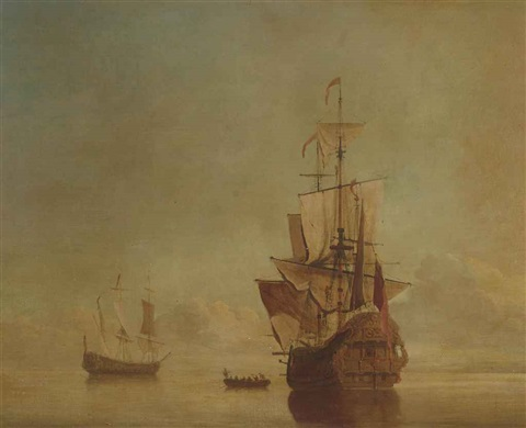 a first rate lying at her anchorage in a calm and drying her sails by samuel scott