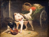 two dogs wtih a vegetable cart by henriette ronner-knip