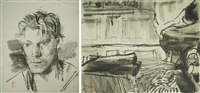 folder with one selfportrait, three portraits and three characters (7 works, various sizes) by gheorghe tomaziu
