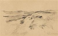 dünenlandschaft (studie zu karre in den dünen) (+ pferdefurhrwerk, sketch, verso) by max liebermann