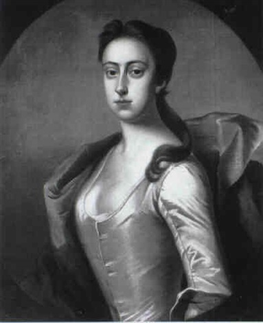 portrait of lady betty fitzwilliam half length wearing a white satin dress and blue wrap by james fellowes