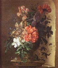 vase de fleurs et insectes sur un entablement by abraham mignon