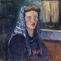 frau mit blauem kopftuch by broncia koller-pinell