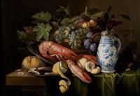 composition à la corbeille de fruits, au homard et à la bouteille en faïence de delft by alexander coosemans