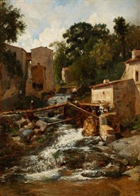village de montagne by francois antoine leon fleury