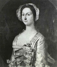 portrait of a lady, bust-length, wearing a white silk dress and a lace bonnet, in a painted oval by pickering