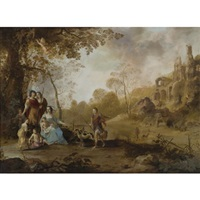 an allegorical family portrait in a landscape by dirck van der lisse